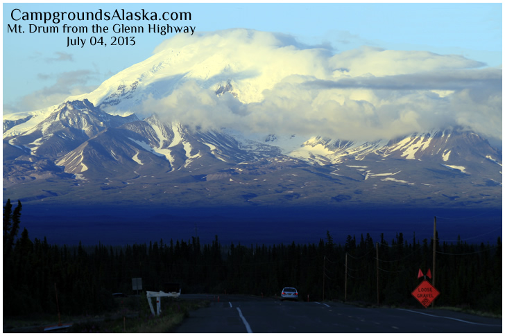 Glennallen Alaska with Mount Drum in the background.