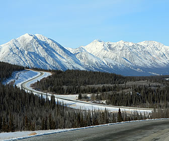 Alaska Highway in winter.