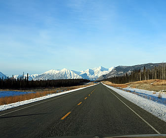 Driving the Alaska Highway in the winter.