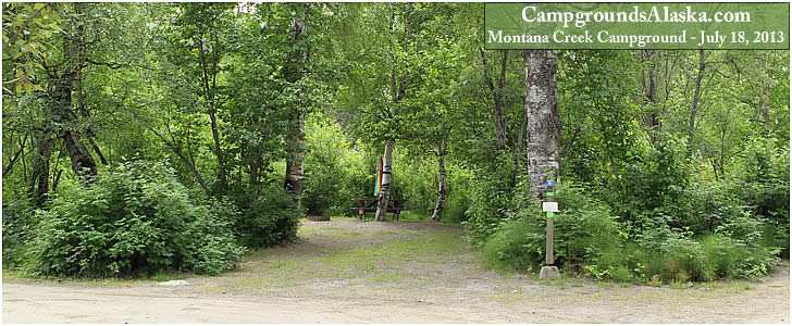 Montana Creek Campground on the Glenn Highway in Alaska. Site #5 is our favorite site of all.