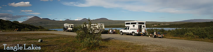 Tangle Lakes Campground on the Denali Highway in Alaska.