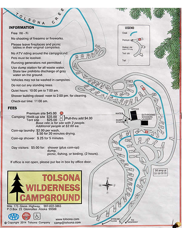 Map of campsites at Tolsona Wilderness Campground